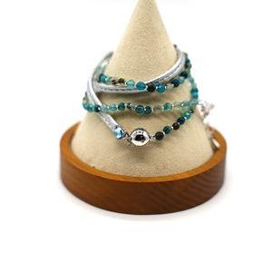 CatstoneNYC Blue Beaded Crystal Wrap Bracelet